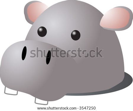 Cartoon head of a hippopotamus, isometric 3d illustration