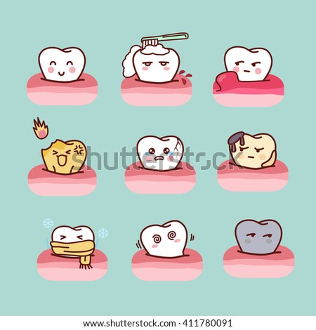 cartoon healthy and decayed tooth set,great for dental care concept - stock photo