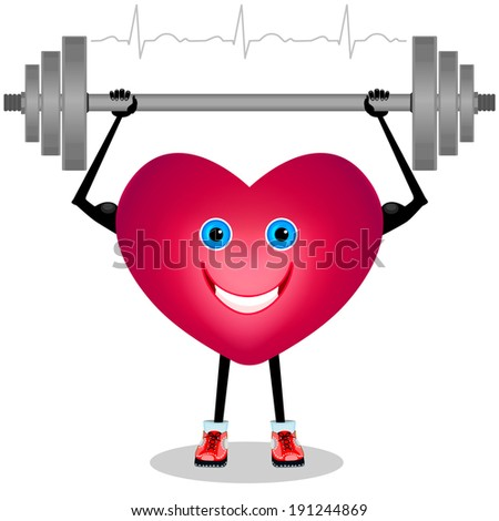 Cartoon heart with a barbell. Isolated on white background. Raster copy