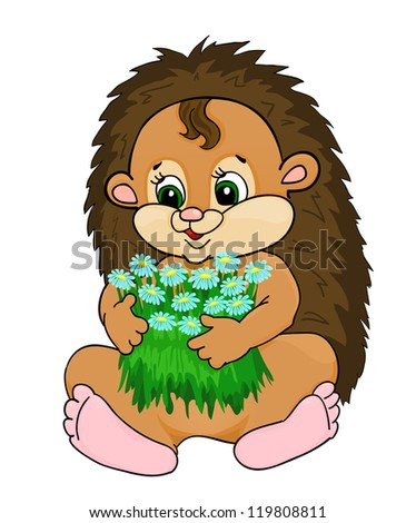 cartoon hedgehog, with isolation on a white background - stock photo