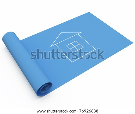 cartoon house blueprint isolated over white - stock photo