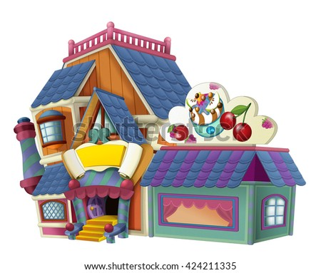 Cartoon house - store - illustration for children