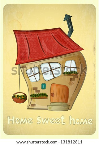 Cartoon Houses Postcard. Crooked House on Vintage Background. Sweet Home - hand lettering. JPEG version. - stock photo