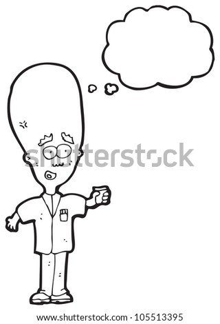 cartoon huge brain scientist with thought bubble - stock photo
