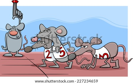 Cartoon Humor Concept Illustration of Rat Race Saying or Proverb - stock photo