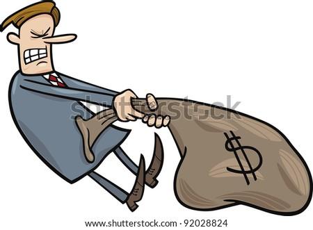 cartoon humorous illustration of businessman draging huge sack of dollars - stock photo
