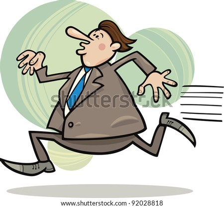 cartoon humorous illustration of funny running overweight businessman