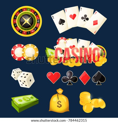 Cartoon icon collection of different games tools. Casino elements money coins and sack. illustration