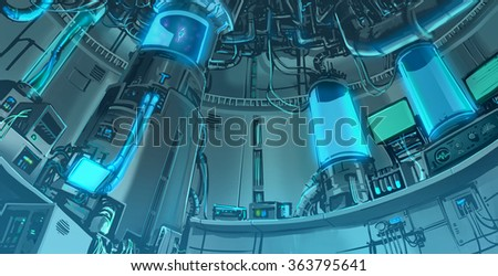 Cartoon illustration banckground scene of massive science laboratory in futuristic and sci-fi fantasy interior layout