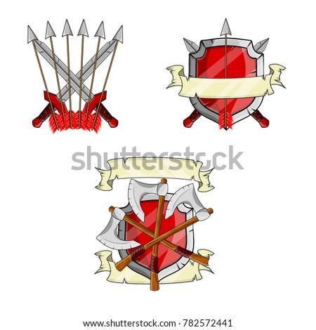 Cartoon Illustration Medieval Weapons Armor Grey Stock Illustration