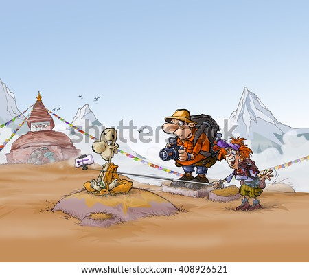 Cartoon illustration of a Buddhist monk and a tourist couple on a Himalayan background. - stock photo