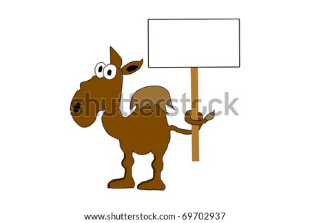 Cartoon illustration of a camel holding sign with tie - stock photo