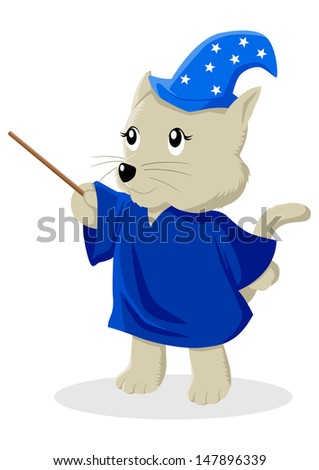 Cartoon illustration of a cat in magician costume - stock photo