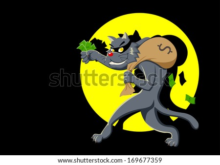 Cartoon illustration of a cat with a bag of money being spotlighted - stock photo