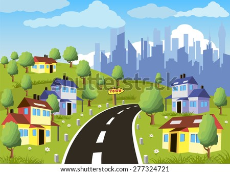Cartoon illustration of a city suburb with road to downtown - stock photo