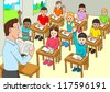 Cartoon illustration of a classroom - stock photo