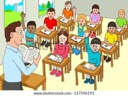 Cartoon illustration of a classroom - stock photo