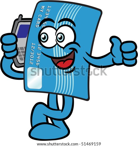 Cartoon illustration of a credit card mascot character talking on a mobile phone