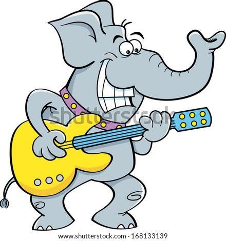 Cartoon illustration of a elephant playing a guitar.