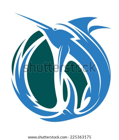 Cartoon illustration of a fishing icon with marlin or leaping sword fish in the ocean - stock photo