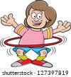 Cartoon illustration of a girl playing with a hula hoop. - stock photo