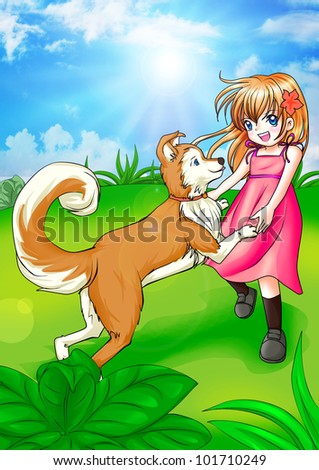 Cartoon illustration of a girl playing with her dog - stock photo