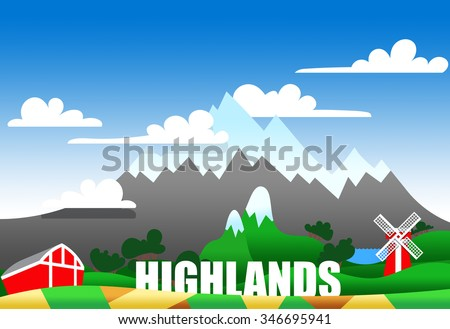 Cartoon illustration of a highland landscape with buildings and text
