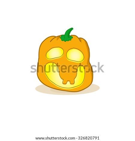 Cartoon  illustration of a Jack-O-Lantern pumpkin.Halloween jack-o-lantern, pumpkin - isolated illustration.  spooky halloween jack o lanterns - stock photo