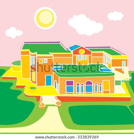 Cartoon illustration of a large view over a funny building under the sunny sky