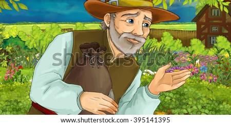 Cartoon illustration of a man gathering herbs in the garden - llustration for children - stock photo