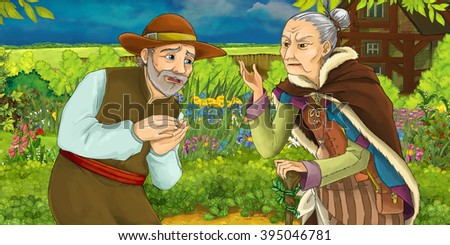 Cartoon illustration of a man talking with an old woman in a herb garden - illustration for children - stock photo