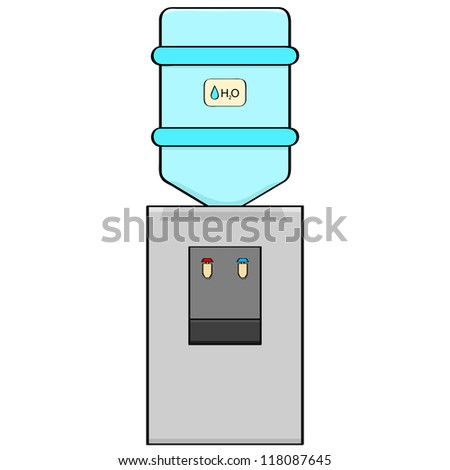 Cartoon illustration of a portable water cooler
