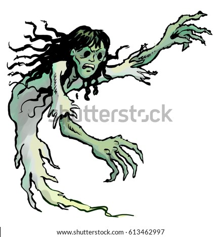 Cartoon illustration scary ghost girl hollow stock illustration cartoon illustration of a scary ghost girl with hollow eye sockets and long dark publicscrutiny Images