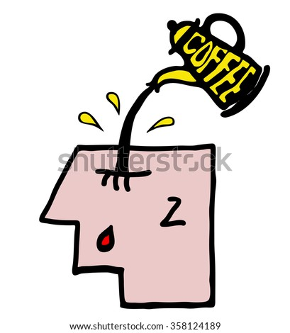 Cartoon illustration of a sleepy face man with a pot of coffee being poured into his head for the concept of drowsiness. - stock photo