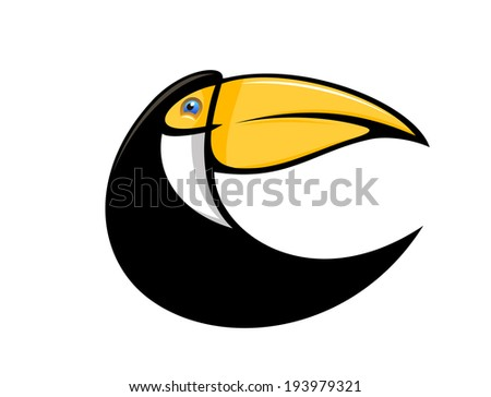 Cartoon illustration of a stylized curved toucan bird in black with a large colourful orange bill isolated on white. Vector version also available in gallery - stock photo