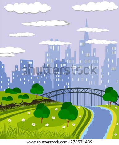 Cartoon illustration of a summer city park