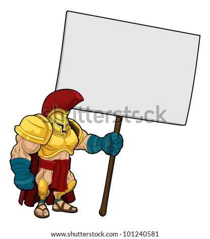 Cartoon illustration of a tough looking Spartan or Trojan soldier holding a sign board - stock photo