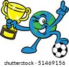 Cartoon illustration of a world mascot character with trophy cup and soccer - stock photo