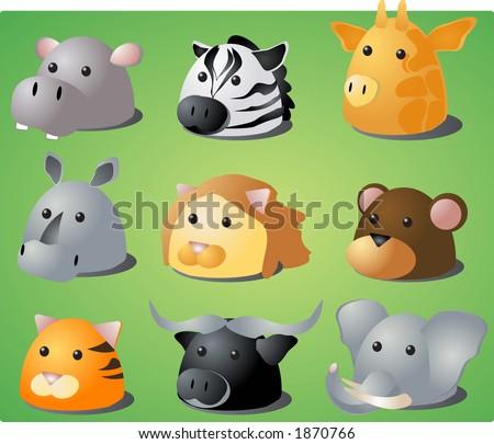Cartoon illustration of African wild safari animals: hippo, zebra, giraffe, rhino, lion, monkey, tiger, buffalo, lion. Raster illustration; vector version is also available - stock photo