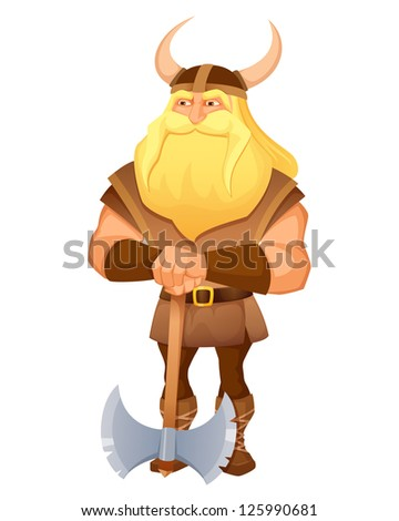 cartoon illustration of an ancient viking warrior with an axe - stock photo
