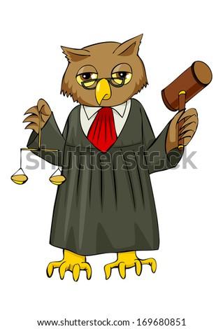 Cartoon illustration of an owl as a judge - stock photo
