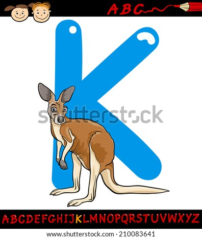 Cartoon Illustration of Capital Letter K from Alphabet with Kangaroo Animal for Children Education - stock photo