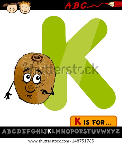 Cartoon Illustration of Capital Letter K from Alphabet with Kiwi for Children Education - stock photo