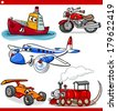 Cartoon Illustration of Cars and Trucks Vehicles and Machines Comic Characters Set for Children - stock vector