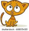cartoon illustration of cute little kitten - stock vector