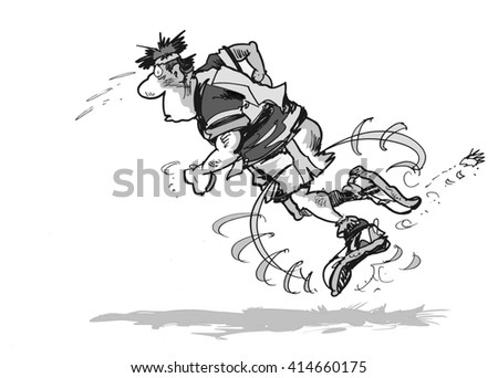 Cartoon illustration of determined male runner falling