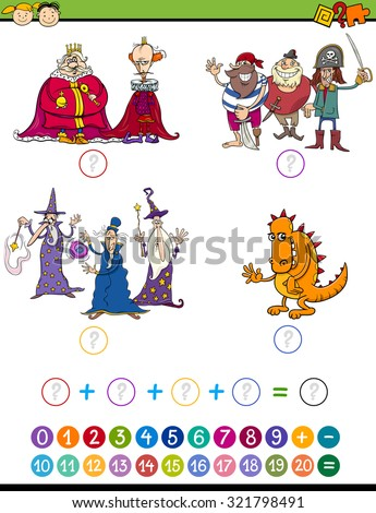 Cartoon Illustration of Education Mathematical Addition Game for Preschool Children with Fantasy Characters - stock photo