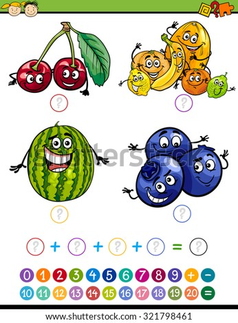 Cartoon Illustration of Education Mathematical Addition Task for Preschool Children with Funny Fruits - stock photo