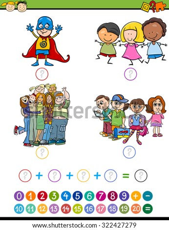 Cartoon Illustration of Education Mathematical Addition Task for Preschool Children with Pupils Characters - stock photo