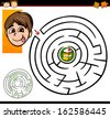 Cartoon Illustration of Education Maze or Labyrinth Game for Preschool Children with Cute Boy and Tasty Cake - stock vector
